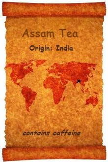 An old world map pinpoints Assam, India the origin of this malty full bodied black tea which stands up very well to milk and sugar making it a wonderful breakfast choice from Organic Teas Canada.