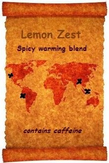 An old world map shows the intercontinental ingredients in this flavourful custom Black Tea Blend from Organic Teas Canada.  Organic Lemon Zest is a spicy warm blend with a full bodied organic and fair trade Assam Tea with organic ginger root, organic cinnamon chips and organic lemon peel.