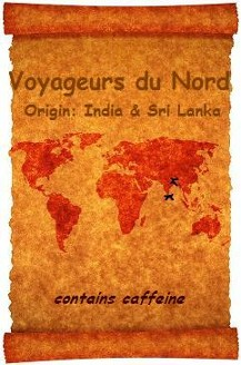 Voyageurs du Nord Organic Black Tea Blend: India and Sri Lanka are featured on a scrolled world map the origins of the certified organic black teas in our special blend.  Organic Teas Canada organic and fair trade certified robust black tea blend honours strong and healthful early Canadian voyageurs which as historically documented drank copious amounts of tea mainly purchased from the Hudson's Bay Company.