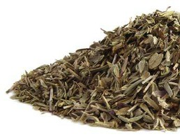 The fresh dried green herb Summer Savory leaves are displayed on a crisp white background in this organic product from Organic Teas Canada dot com.