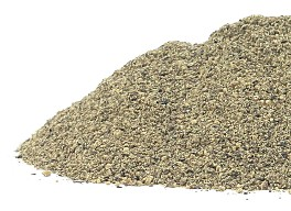 Ground black pepper is presented on a white background in this photo from Organic Teas Canada dot com.  Black pepper of exceptional quality, organic and fair traded.